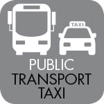 By public transport and taxi icon